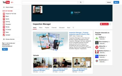 Screenshot of YouTube Page youtube.com - Inspection Manager  - YouTube - captured Oct. 23, 2014