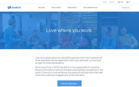 Screenshot of Jobs Page sendgrid.com - Work for SendGrid - captured May 4, 2016