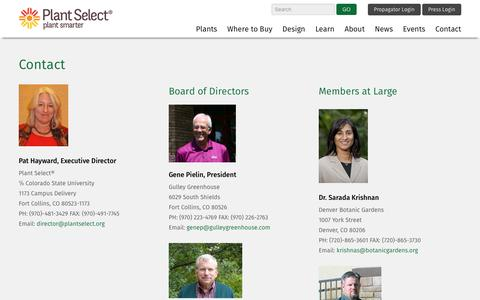 Screenshot of Contact Page plantselect.org - Contact | Plant Select - captured Dec. 10, 2015