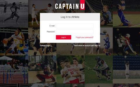 Screenshot of Login Page captainu.com - Athletes | CaptainU College Sports Recruiting | CaptainU - captured July 18, 2015