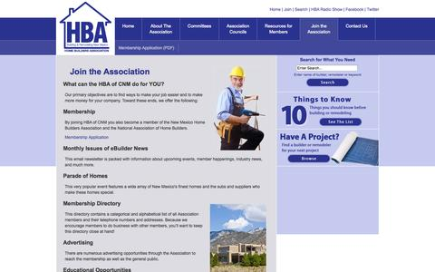 Screenshot of Signup Page hbacnm.com - Home Builders, Custom Building, Remodeling | HBA, Albuquerque, New Mexico - Join the Association - captured Oct. 3, 2014