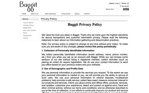 Screenshot of Privacy Page baggit.com - Privacy Policy | Baggit - captured Oct. 5, 2018