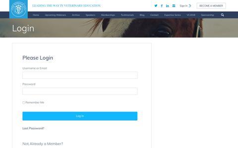 Screenshot of Login Page thewebinarvet.com - Login - The Webinar Vet - captured June 17, 2017