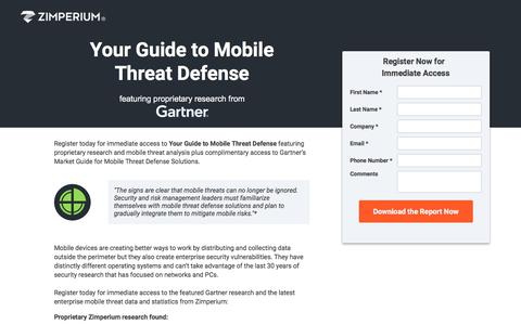 Screenshot of Landing Page zimperium.com - Your Guide to Mobile Threat Defense - captured April 13, 2018
