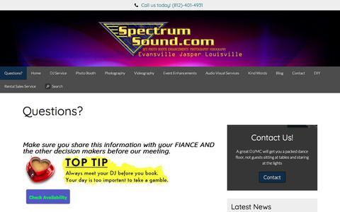 Screenshot of FAQ Page spectrumsound.com - Event Entertainment Services FAQ | SpectrumSound.Com - captured July 3, 2018