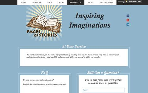 Screenshot of Contact Page pagesofstories.com - Pages Of Stories | CONTACT US - captured May 13, 2017