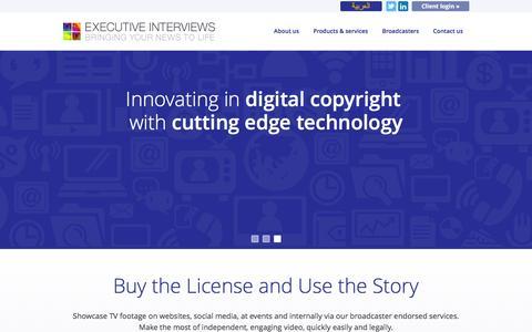 Screenshot of Home Page executiveinterviews.biz - Executive Interviews - Bringing Your News to Life - captured Dec. 14, 2015