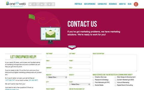 Screenshot of Contact Page oneupweb.com - Oneupweb : Contact Us - captured Oct. 26, 2014