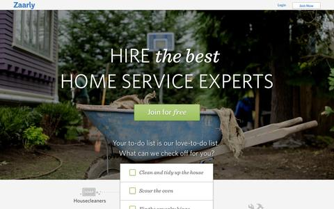 Screenshot of Home Page zaarly.com - House Cleaning, Handyman, Lawn Care Services in Kansas City and San Francisco | Zaarly - captured Sept. 17, 2014