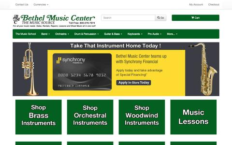 Screenshot of Home Page bmcmusicsource.com - Bethel Music Center - Music Lessons, Instrument Rentals, Instrument Repairs, Orchestra Instrument Rentals, Band Instrument Rentals | Fairfield County, CT - captured Nov. 13, 2018