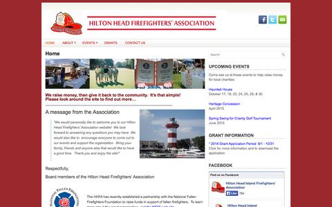 Screenshot of Home Page hhfirefighters.org - Hilton Head Firefighters Association - captured Oct. 3, 2014
