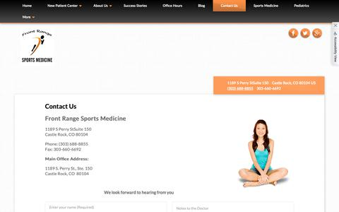 Screenshot of Contact Page b2hchiro.com - Front Range Sports Medicine - Chiropractor in Castle Rock, CO, US - captured Oct. 5, 2018