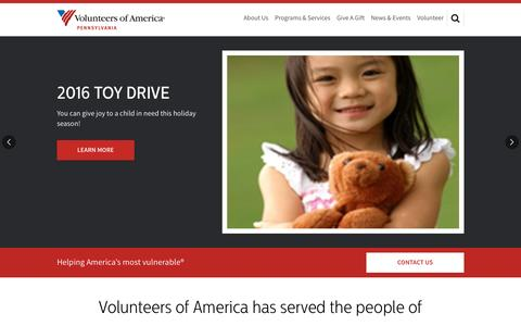 Screenshot of Home Page voapa.org - Volunteers of America - captured Nov. 30, 2016