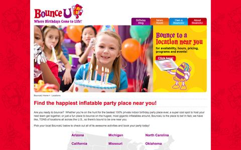 Screenshot of Locations Page bounceu.com - Locations - captured Nov. 4, 2014