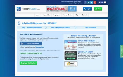 Screenshot of Signup Page healthitjobs.com - Register Now on Industries #1 Healthcare IT Job Site | HealthITJobs.com - captured Jan. 27, 2016