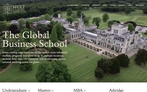 Screenshot of Home Page hult.edu - Hult International Business School - The Global Business School - captured Feb. 6, 2016