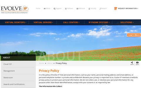 Screenshot of Privacy Page evolveip.net - Privacy Policy - Evolve IP - captured July 19, 2014