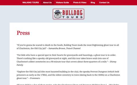 Screenshot of Press Page bulldogtours.com - Press Mentions of Bulldog Walking Tours Located in Chalreston, SC - captured Oct. 7, 2018