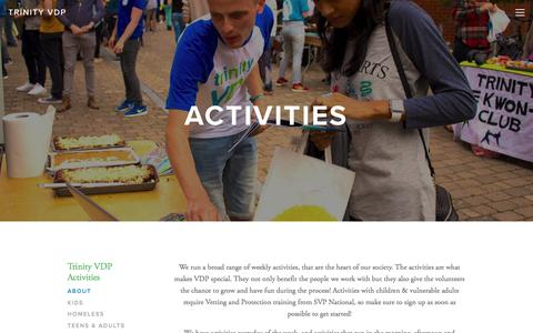 Screenshot of About Page trinityvdp.com - About Activities — Trinity VDP - captured Nov. 10, 2017
