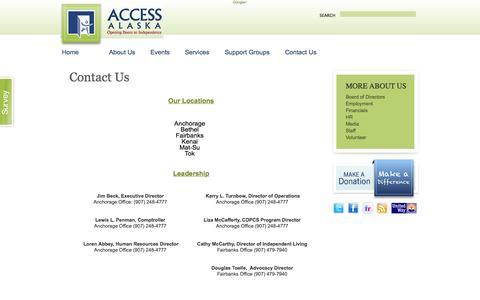 Screenshot of Contact Page accessalaska.org - Contact Us   Access Alaska - captured Oct. 29, 2014