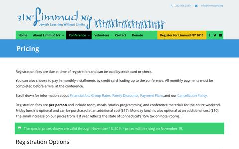 Screenshot of Pricing Page limmudny.org - Limmud NY  Pricing | Limmud NY - captured Oct. 29, 2014