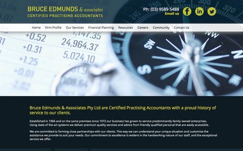 Screenshot of Menu Page edmunds.com.au - Accountants Beaumaris Advisors Tax Agents Tax Audit GST BAS Superannuation Black Rock Cheltenham Mentone Victoria Bruce Edmunds & Associates - captured Feb. 8, 2016
