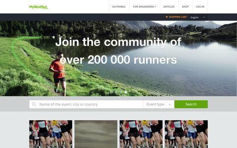 Screenshot of Home Page mynextrun.com - MyNextRun - captured Dec. 4, 2015