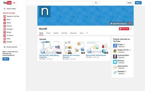 Screenshot of YouTube Page youtube.com - NovotX  - YouTube - captured Nov. 3, 2014