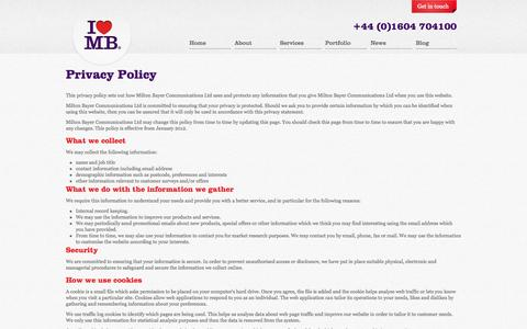 Screenshot of Privacy Page miltonbayer.com - Milton Bayer | Strategic Creative Agency - captured Sept. 25, 2014