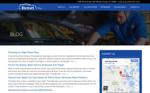 Screenshot of Blog stewartautorepair.com - Stewart Auto Repair: Auto Repair Shop in NW Winter Haven, FL, Florida - captured Dec. 16, 2016