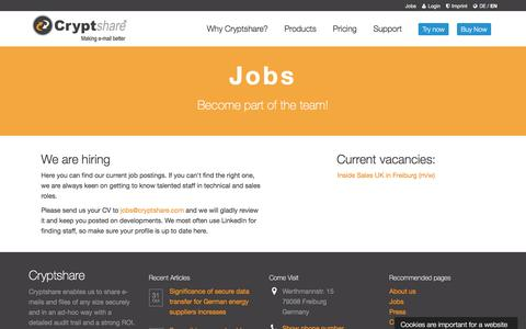 Screenshot of Jobs Page cryptshare.com - Cryptshare Jobs - captured Nov. 7, 2016