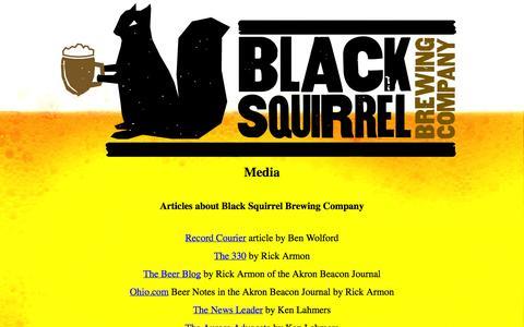 Screenshot of Press Page blacksquirrelbrewingcompany.com - Black Squirrel Brewing Company - Media - captured Oct. 5, 2014
