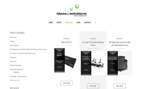 Screenshot of Products Page ideasandsolutions.ca - Ideas & Solutions |   products - captured June 7, 2017