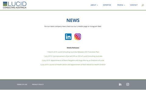 Screenshot of Press Page lucidconsulting.com.au - News   Lucid Consulting Australia - captured Nov. 12, 2019