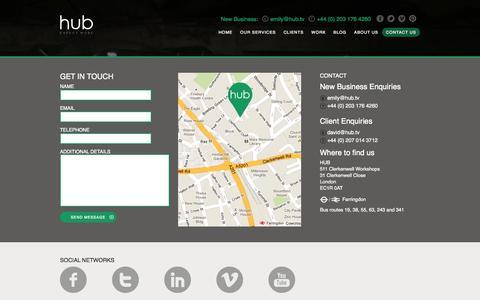 Screenshot of Contact Page hub.tv - Video Agency London | Hub Video Agency London | HUB - captured Oct. 3, 2014