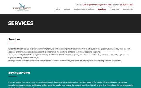 Screenshot of Services Page donnahenryhomes.com - Donna Sells Spokane - captured April 13, 2017