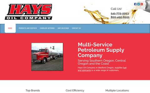 Screenshot of Home Page haysoil.com - Oil Company, Medford, OR | Hays Oil Company - captured Sept. 27, 2018