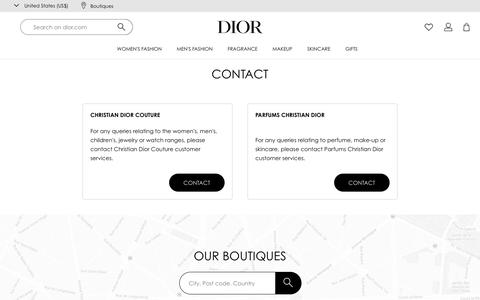 Screenshot of Contact Page dior.com - Contact | DIOR - captured Jan. 17, 2020