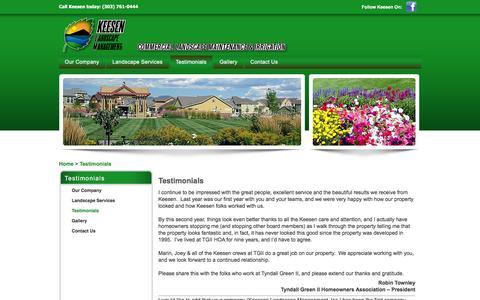 Screenshot of Testimonials Page keesenlandscape.com - Keeson Landscape Management   Denver, CO   Testimonials - captured Feb. 12, 2016
