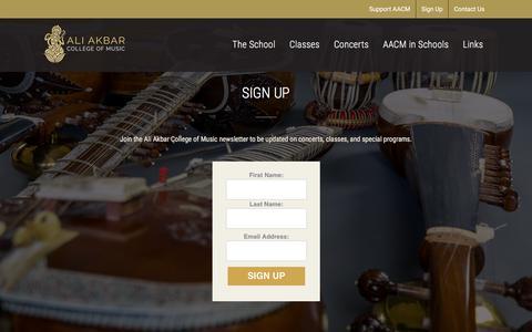 Screenshot of Signup Page aacm.org - Sign Up | Ali Akbar College of Music – Ali Akbar College of Music - captured Sept. 22, 2018