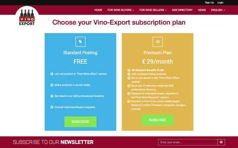 Screenshot of Signup Page vino-export.com - Choose your Vino-Export subscription plan | Vino Export Wine Industry Network - captured Sept. 23, 2018