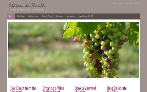 Screenshot of Home Page claribes.com - Chateau de Claribes - Organic Bordeaux Wine and Vineyard Holidays - captured Oct. 2, 2014