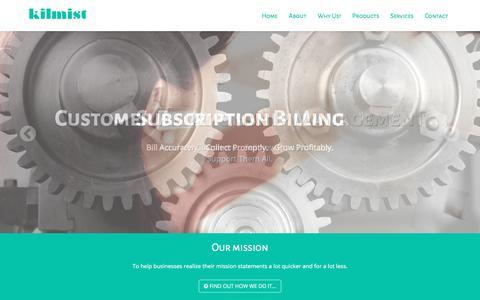 Screenshot of Home Page kilmist.com - Kilmist - Telecom & Subscription Billing, CRM Solutions - captured Sept. 20, 2018