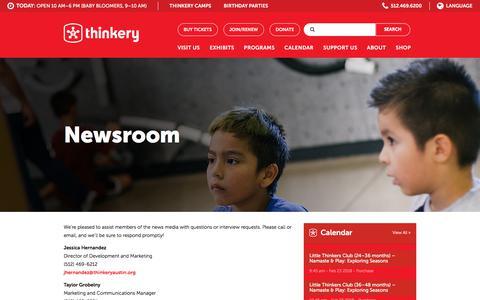 Screenshot of Press Page thinkeryaustin.org - Newsroom - Thinkery - captured Feb. 24, 2018