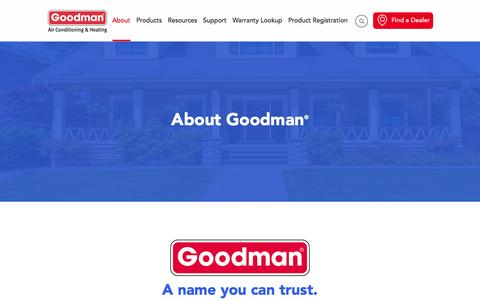 Screenshot of About Page goodmanmfg.com - Reliable Heating & Cooling Systems From Goodman Brand - captured Sept. 1, 2016