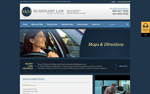 Screenshot of Maps & Directions Page mcmenamylaw.com - Find a Personal Injury Law Firm in Atlanta, Georgia - McMenamy Law - captured Sept. 30, 2014