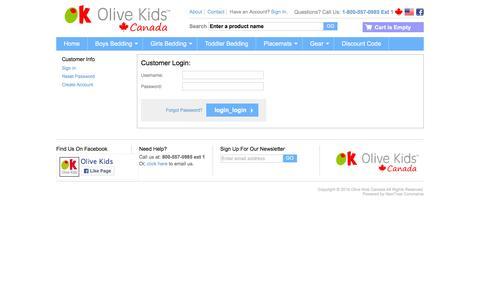 Screenshot of Login Page olivekids.ca - Olive Kids Canada - captured March 10, 2016
