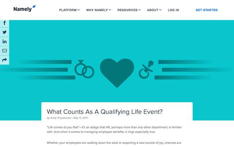 Screenshot of Blog namely.com - What Counts as a Qualifying Life Event?  — Namely: Blog - captured May 10, 2018