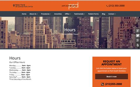 Screenshot of Hours Page parksouthdentistry.com - Park South Dentistry Office Hours | Dr. David Janash - captured July 2, 2018