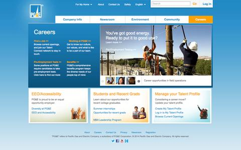Screenshot of Jobs Page pge.com - Careers - captured Sept. 18, 2014